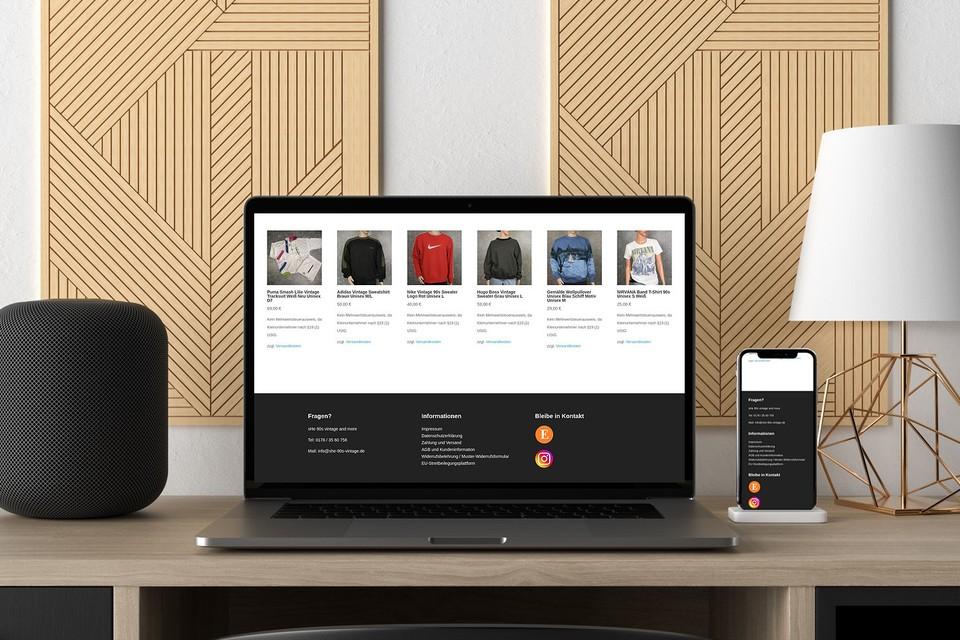 Webdesign Projekt she 90s vintage Webshop woocommerce Theme