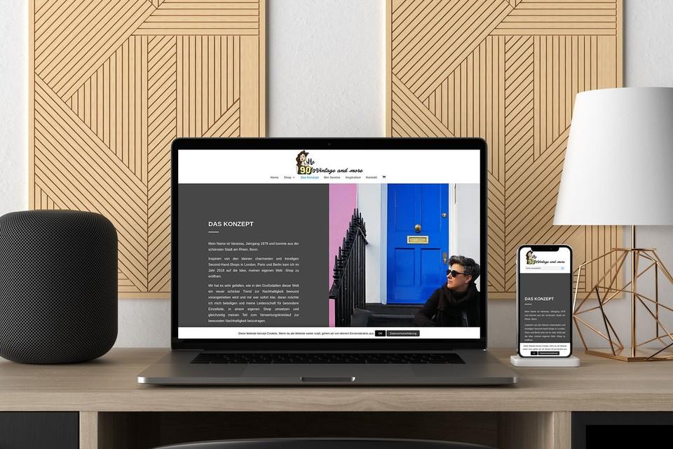 Webdesign Projekt she 90s vintage Konzept