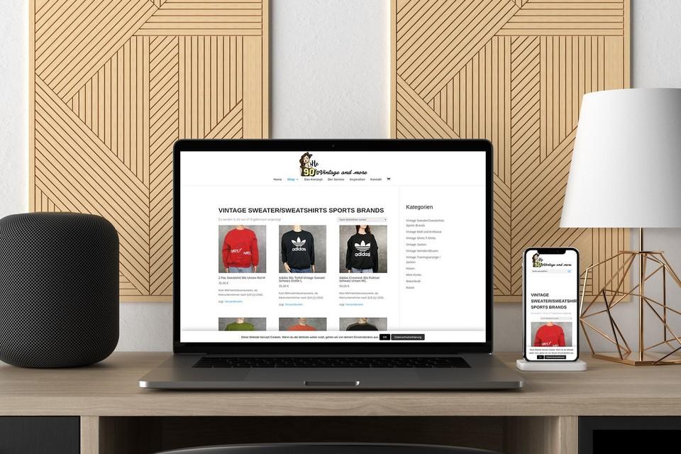 Webdesign Projekt she 90s vintage Webdesigner Webshop woocommerce Beispiel