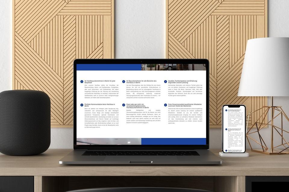 Webdesign HVG Berlin Baufirma Wordpress Theme