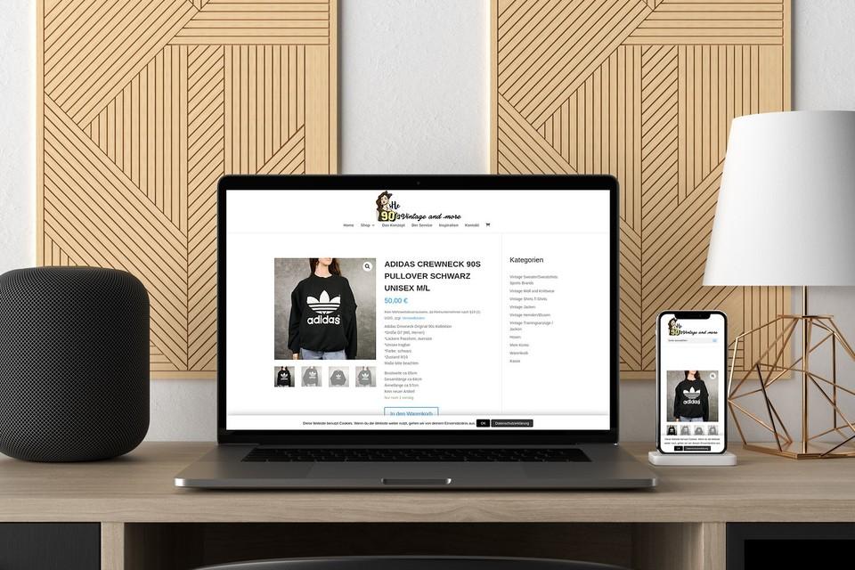 Webdesign Projekt she 90s vintage Webshop Bekleidung woocommerce Theme